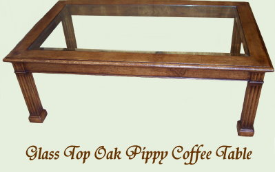 Glass Top Oak Pippy Coffee Table